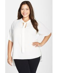 Vince Camuto - White Tie Neck Blouse - Lyst