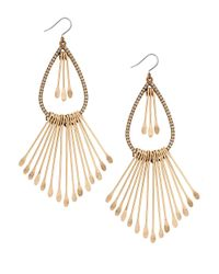 Lucky Brand | Metallic Goldtone Paddle Fringe Earrings | Lyst