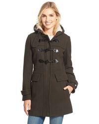 London Fog   Green Wool Blend Duffle Coat With Faux Shearling Lined Hood   Lyst