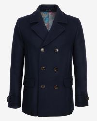 Ted Baker - Blue Herringbone Wool Peacoat for Men - Lyst