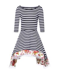 Natasha Zinko - Blue Side Draped Striped Dress - Lyst