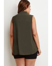 Forever 21 | Green Plus Size Zipper-pocket Top | Lyst