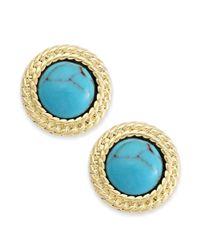 Lauren by Ralph Lauren - Blue Goldtone Bezelset Stone Button Earrings - Lyst