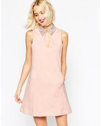 ASOS | Pink Embellished Collar Scuba Shift Mini Dress - Nude | Lyst