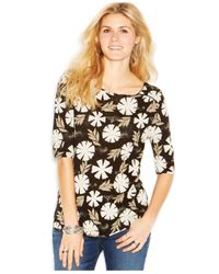 Lucky Brand - Black Lucky Brand Elbow-Sleeve Boat-Neck Printed Top - Lyst