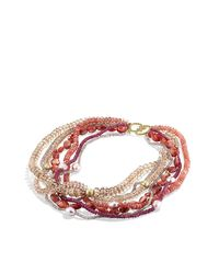 David Yurman | Pink Dy Signature Bead Necklace With Sunstones And Champagne Citrines In Gold | Lyst