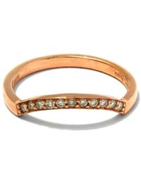 Anna Sheffield - Metallic White Diamond And Rose Gold Diamond Dusted Curve Ring - Lyst