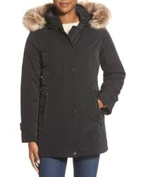 Gallery | Black Faux Fur Trim Stadium Coat | Lyst