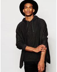 ASOS Poncho Hoodie in Black for Men - Lyst