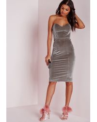 Missguided - Metallic Velvet Bandeau Bodycon Dress Grey - Lyst