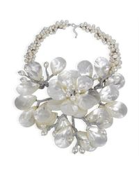 Aeravida - Metallic Colossal Floral Mother Of Pearl .925 Silver Necklace - Lyst