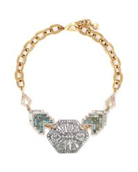 Lulu Frost | Green 'ortigia' Crystal Stone Mosaic Chain Necklace | Lyst