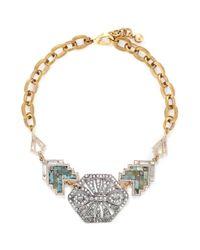 Lulu Frost - Green 'ortigia' Crystal Stone Mosaic Chain Necklace - Lyst