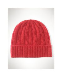 Polo Ralph Lauren - Red Cable-knit Cashmere Hat - Lyst
