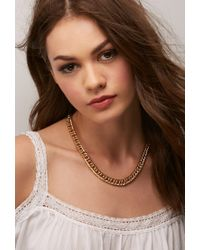 Forever 21 | Metallic Flash Trash Curb Chain Necklace | Lyst