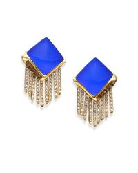 Alexis Bittar - Blue Sport Deco Lucite & Crystal Pyramid Spear Fringe Clip-on Earrings - Lyst