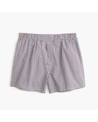 J.Crew | Red Cabernet Tattersall Boxers for Men | Lyst