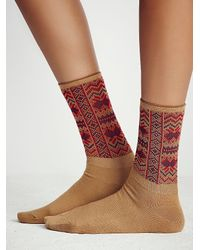 Free People | Brown Womens French Quarter Crew Sock | Lyst