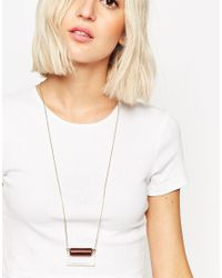 ASOS | Metallic Semi Precious Cylinder Long Pendant Necklace | Lyst