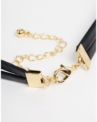 ASOS | Black Leather Look Heart Choker Necklace | Lyst
