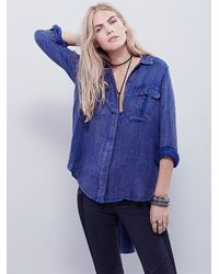 Free People | Blue Womens One Of The Guys Buttondown | Lyst