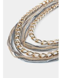 Violeta by Mango | Metallic Multiple Chain Necklace | Lyst