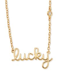 Shy By Sydney Evan | Metallic Lucky Single-Diamond Script Necklace | Lyst