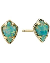 Kendra Scott - Black Deva Iridescent Ab Plated Blue Opaque Glass Earrings - Lyst