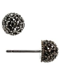 Judith Jack - Black Marcasite Stud Earrings - Lyst
