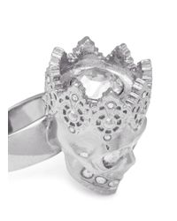 Alexander McQueen - Metallic King Skull Ring - Lyst
