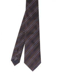 Jules B - Brown Silk Herringbone Striped Tie for Men - Lyst