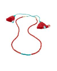 Aurelie Bidermann | Metallic Sioux Gold Plated Necklace With Turquoise And Coral Beads | Lyst