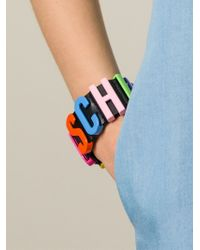 Moschino | Black Logo Plaque Cuff | Lyst