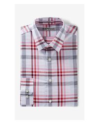 Express | Red Fitted Plaid Dress Shirt for Men | Lyst