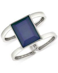 T Tahari | Metallic Silver-tone Blue Stone Double Bar Hinge Cuff Bracelet | Lyst