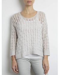 INHABIT   Gray Marled Open Cable Scoop   Lyst