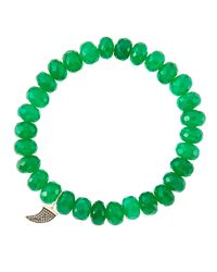 Sydney Evan | 8Mm Faceted Green Onyx Beaded Bracelet With 14K Gold/Diamond Small Horn Charm (Made To Order) | Lyst