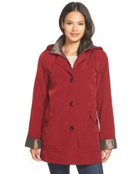 Gallery - Red Bibbed Silk Look Raincoat - Lyst
