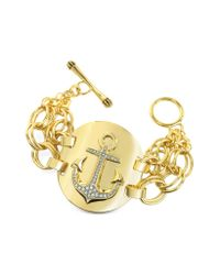 Juicy Couture - Metallic Double Chain Anchor Bracelet - Lyst