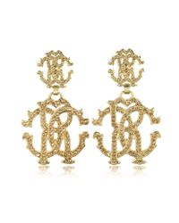 Roberto Cavalli - Metallic Rc Lux Signature Earrings W/Crystal - Lyst