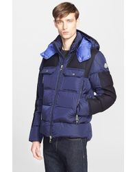 85e67539c2 Moncler 'dimier' Mixed Media Down Jacket in Blue for Men - Lyst