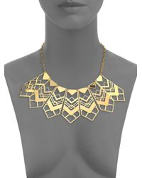 Tory Burch | Metallic Chevron Bib Necklace | Lyst