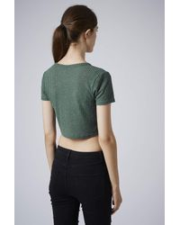 TOPSHOP - Green Womens Short Sleeve Rib Crop Tee Forest - Lyst