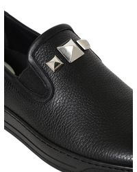 Bi_plus - Black Studded Leather Slip-on Sneakers for Men - Lyst