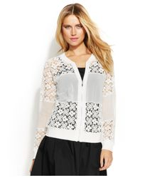 INC International Concepts - White Lace Bomber Jacket - Lyst