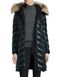 Moncler | Black Bellette Fur-trim Puffer Coat | Lyst