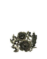 L'Inde Le Palais - Black Large Silver Brooch - Lyst