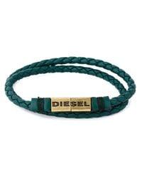 DIESEL - Green Braided Bracelet for Men - Lyst