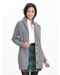 Banana Republic | Gray Textured Boyfriend Cardigan | Lyst