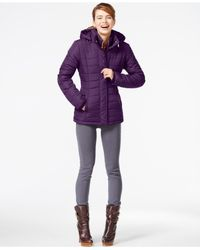 Rampage | Purple Hooded Quilted Puffer Coat | Lyst